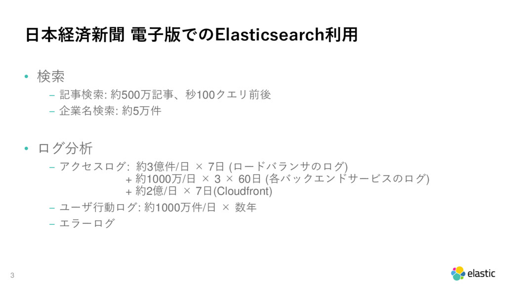 3 日本経済新聞 電子版でのElasticsearch利用 • 検索 ‒ 記事検索: 約500...