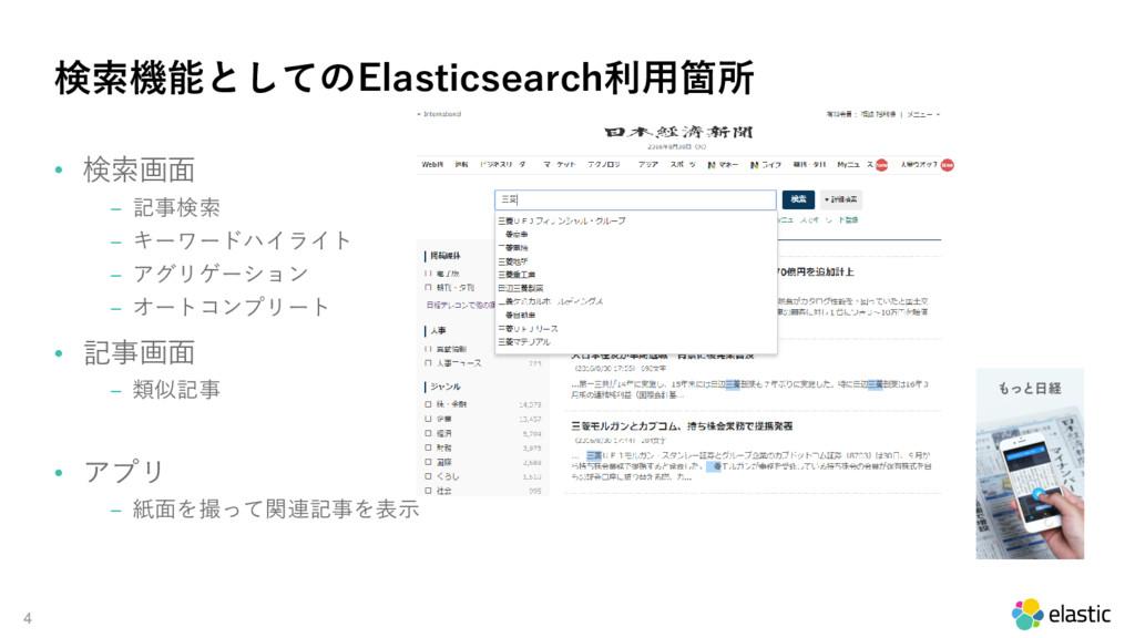 4 検索機能としてのElasticsearch利用箇所 • 検索画面 ‒ 記事検索 ‒ キーワ...
