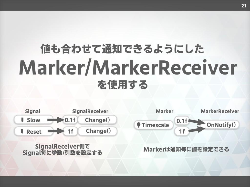 21 Marker/MarkerReceiver 値も合わせて通知できるようにした を使用する...