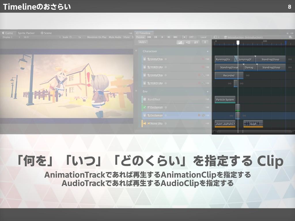 8 「何を」「いつ」「どのくらい」を指定する Clip AnimationTrackであれば再...