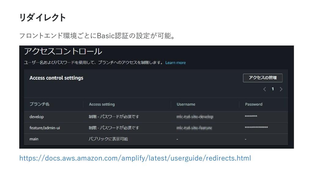 リダイレク ト フロントエンド環境ごとにBasic認証の設定が可能。 https://docs...