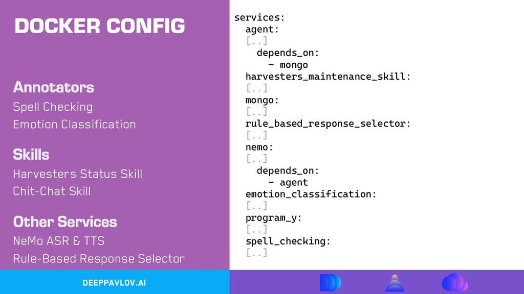 DeepPavlov.ai services: agent: [..] depends_on:...