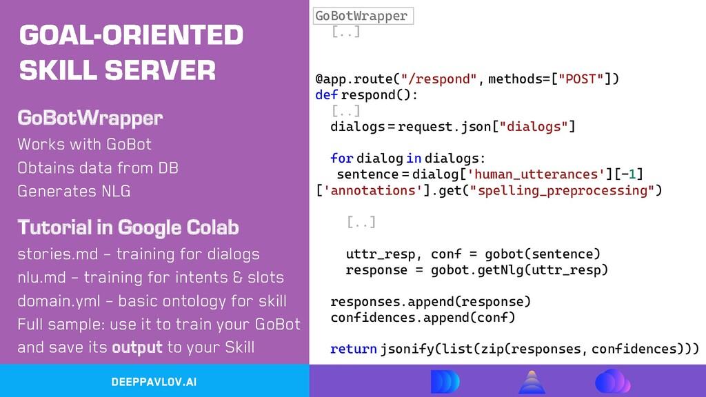 DeepPavlov.ai Works with GoBot GoBotWrapper Obt...