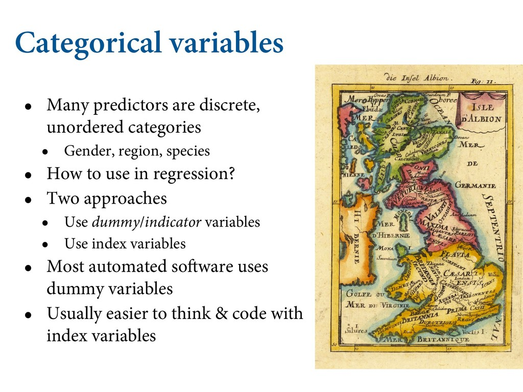 Categorical variables • Many predictors are dis...