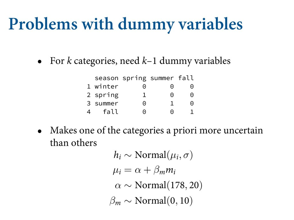 Problems with dummy variables • For k categorie...