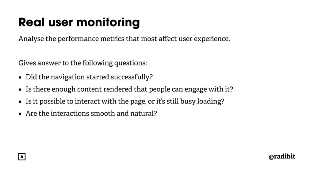 @radibit Real user monitoring Analyse the perfo...