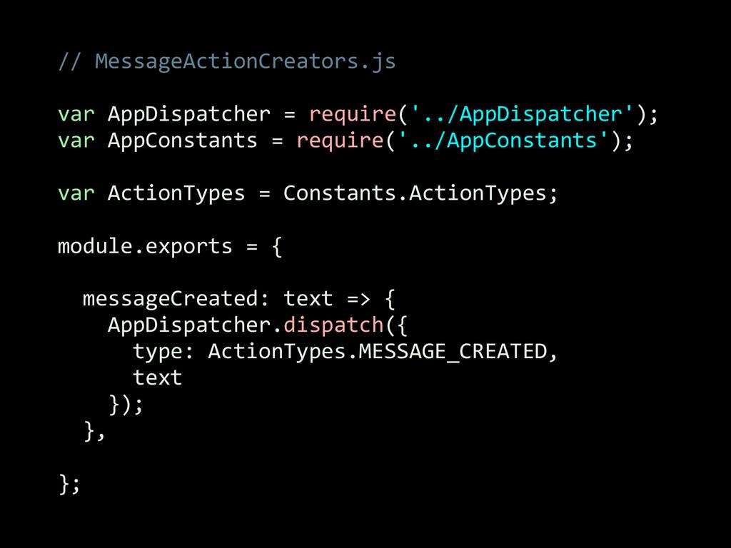 // MessageActionCreators.js  ! var App...