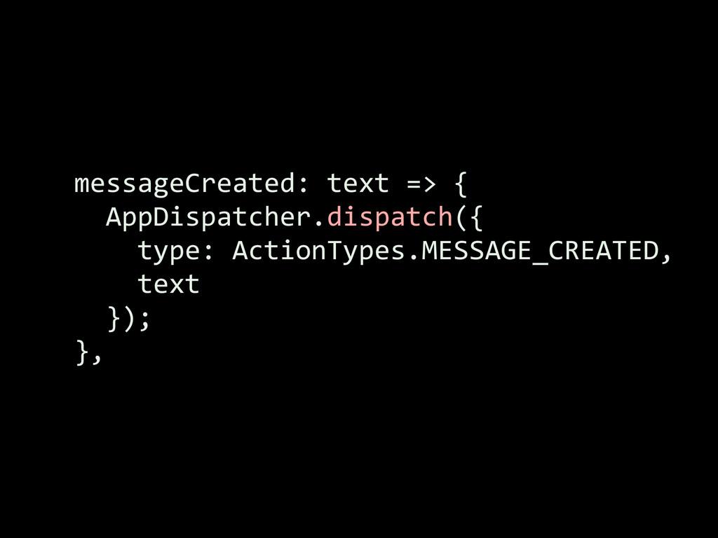 messageCreated: text => {    ...