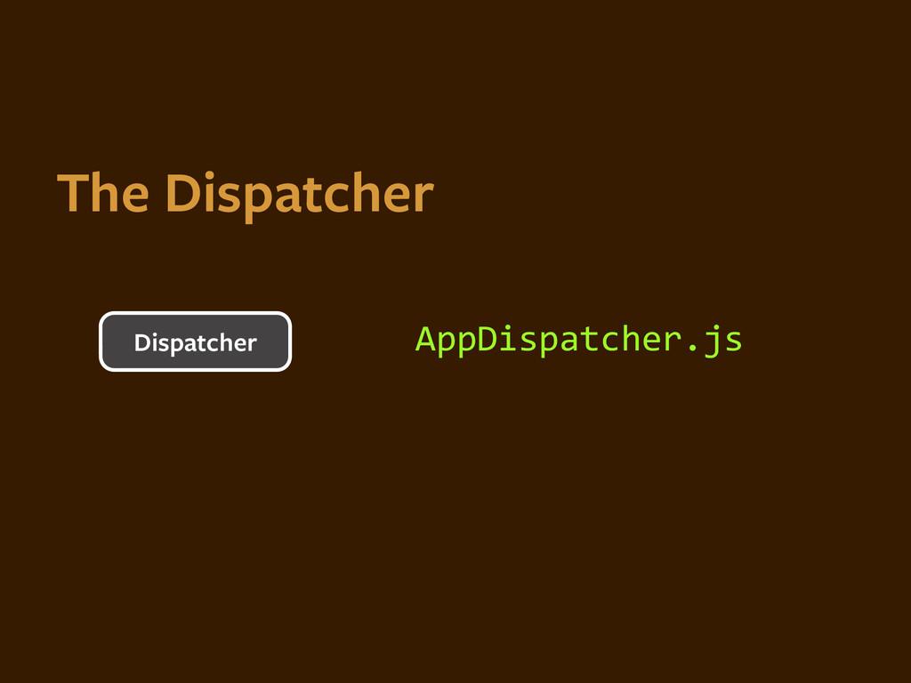 AppDispatcher.js Dispatcher The Dispatcher