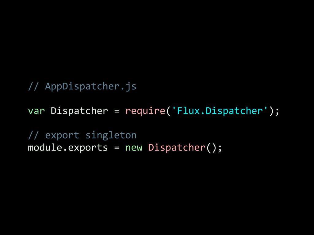 // AppDispatcher.js  ! var Dispatcher...