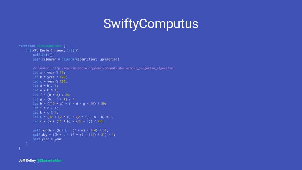 SwiftyComputus extension DateComponents { init(...