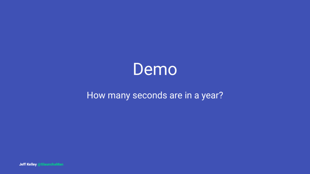 Demo How many seconds are in a year? Jeff Kelle...