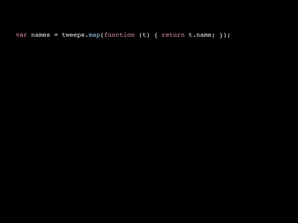 var names = tweeps.map(function (t) { return t....