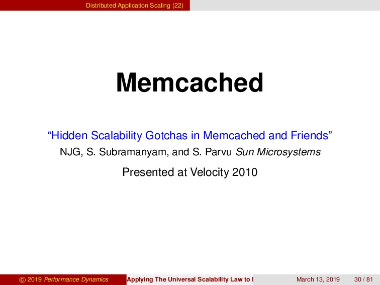 Distributed Application Scaling (22) Memcached ...
