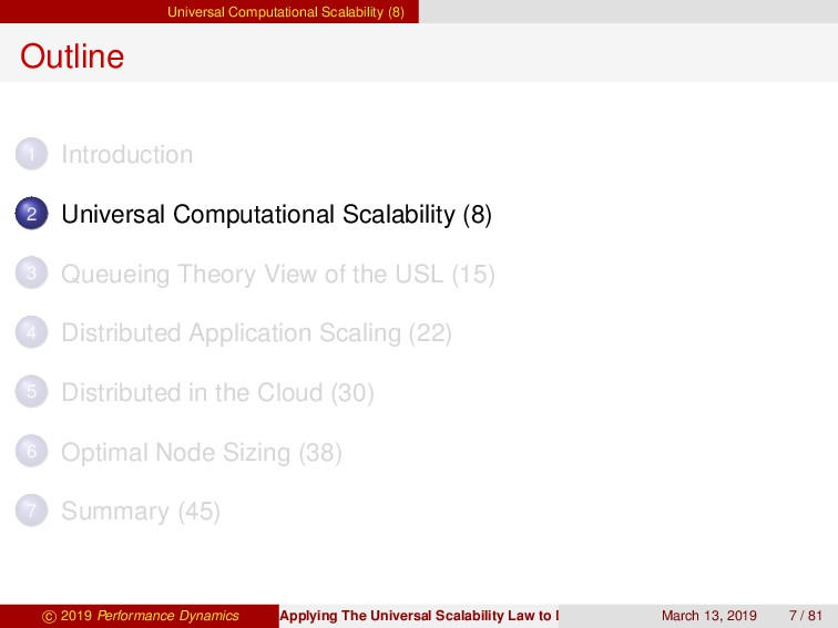 Universal Computational Scalability (8) Outline...