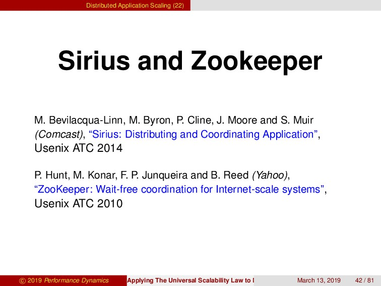 Distributed Application Scaling (22) Sirius and...