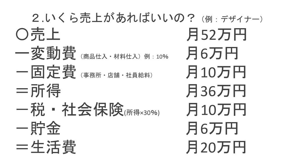2.いくら売上があればいいの?(例:デザイナー) 〇売上 月52万円 ー変動費 (商品仕入・材...