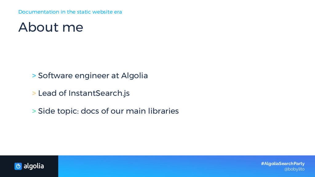 About me > Software engineer at Algolia > Lead ...