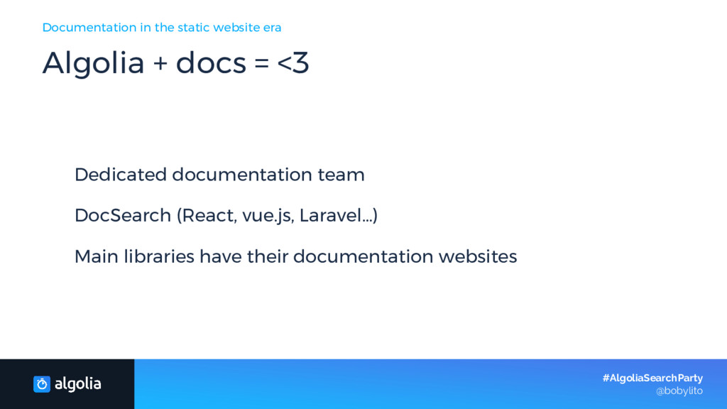 Dedicated documentation team DocSearch (React, ...