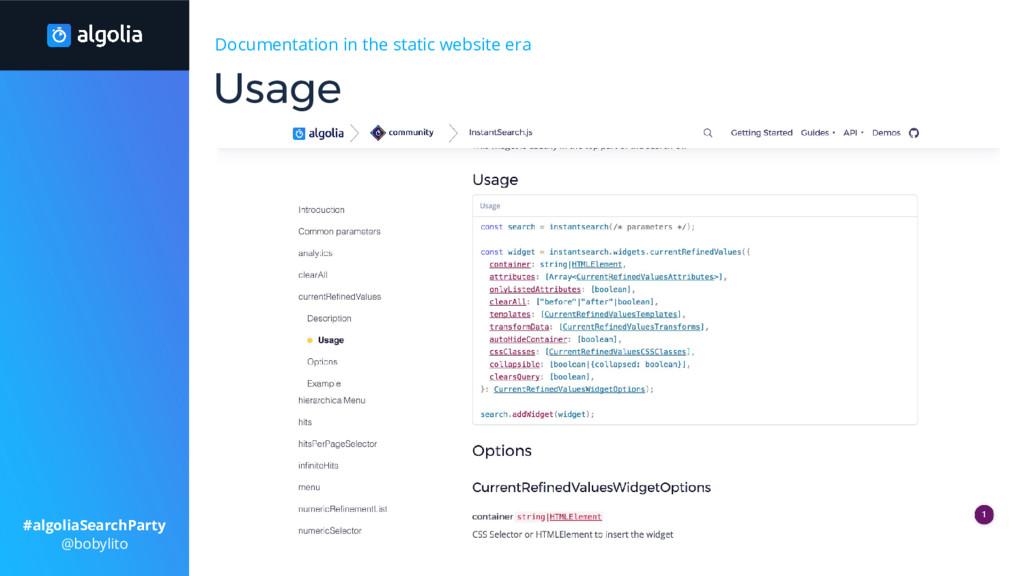 Documentation in the static website era > Gener...