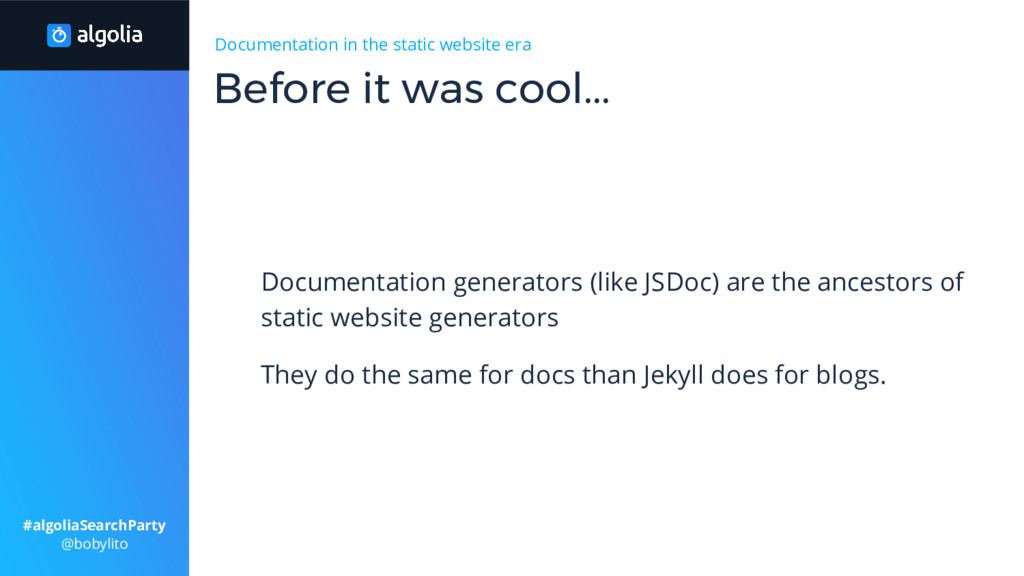 Documentation in the static website era Documen...