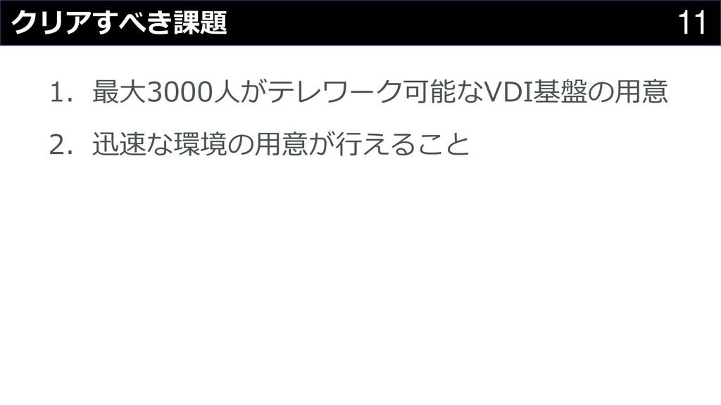 11 クリアすべき課題 1. 最大3000人がテレワーク可能なVDI基盤の用意 2. 迅速な環...