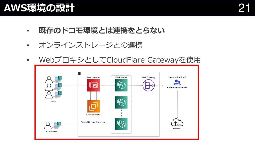21 AWS環境の設計 • 既存のドコモ環境とは連携をとらない • オンラインストレージとの連...