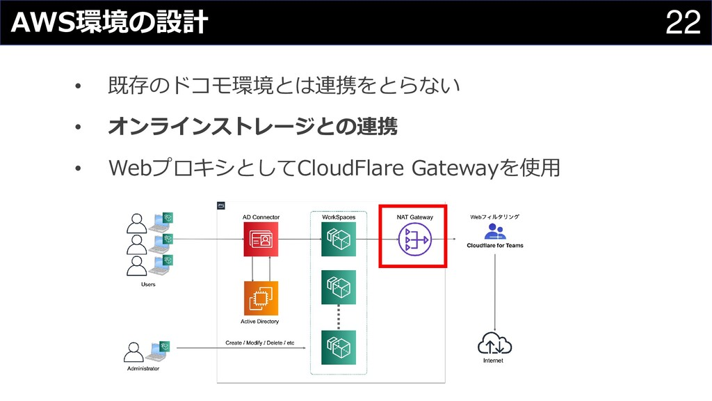 22 AWS環境の設計 • 既存のドコモ環境とは連携をとらない • オンラインストレージとの連...