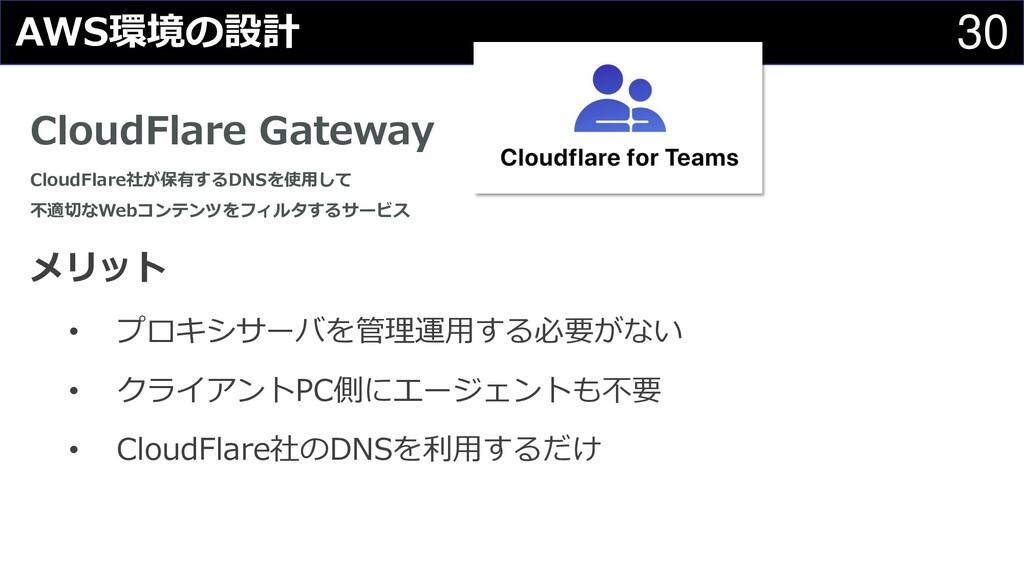 30 AWS環境の設計 CloudFlare Gateway CloudFlare社が保有する...
