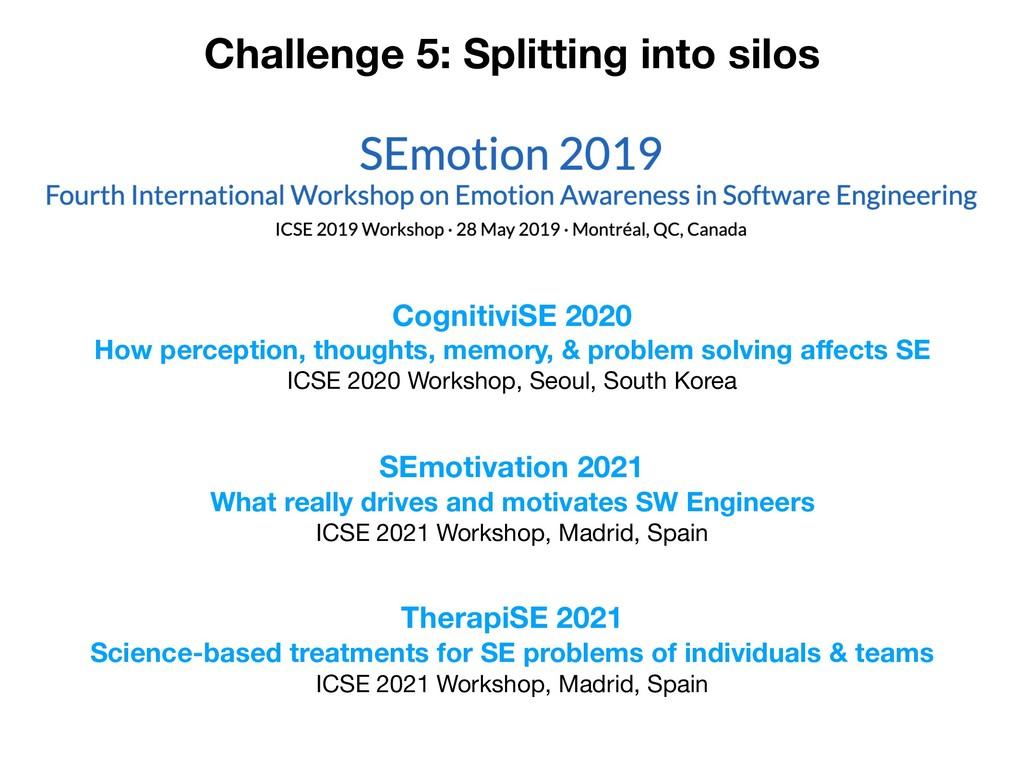 Challenge 5: Splitting into silos CognitiviSE 2...