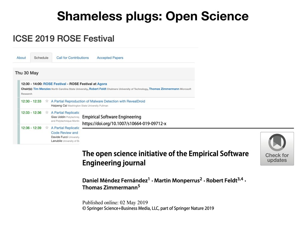 Shameless plugs: Open Science