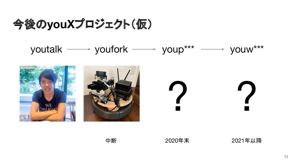 今後のyouXプロジェクト(仮) 11 youtalk youfork youp*** you...