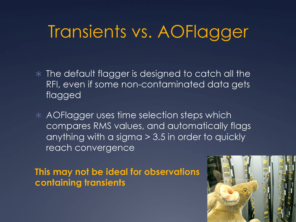 Transients vs. AOFlagger Ü The default flagge...