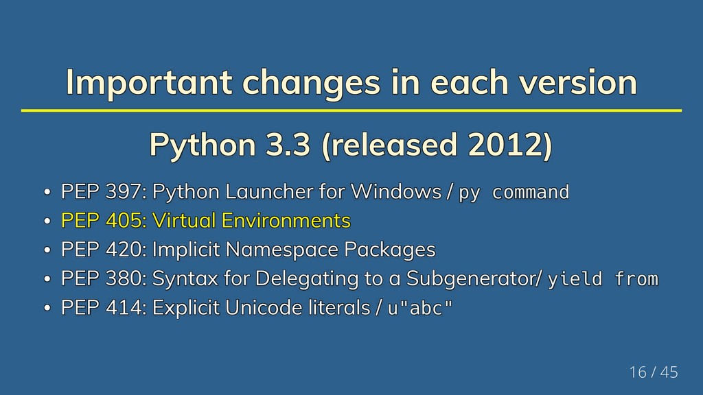 Important changes in each version Important cha...