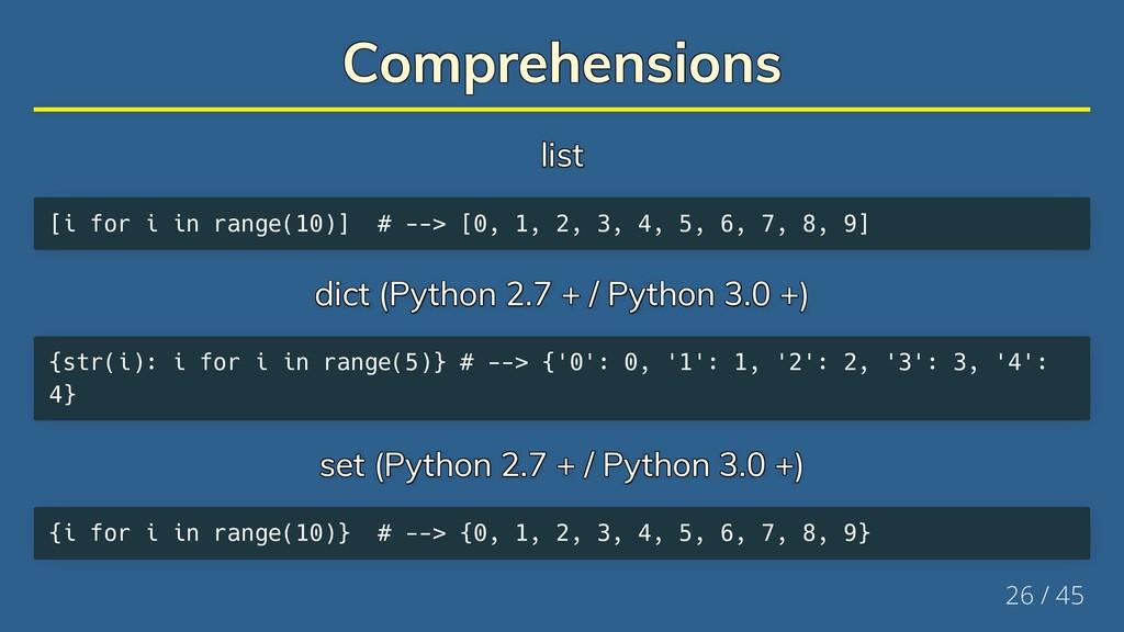 Comprehensions Comprehensions Comprehensions Co...