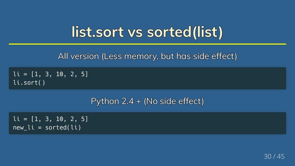 list.sort vs sorted(list) list.sort vs sorted(l...