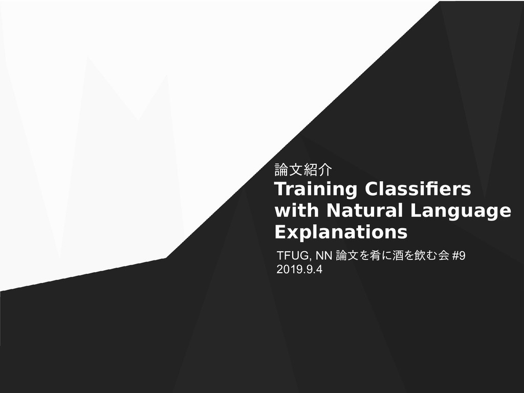 論文紹介 Training Classifiers with Natural Language...
