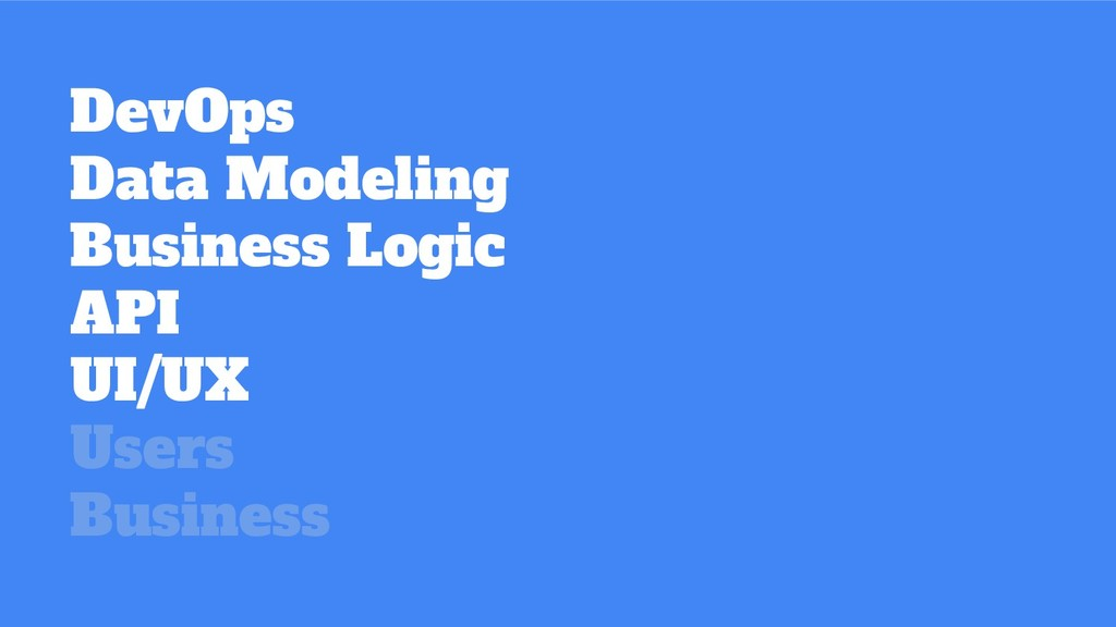 DevOps Data Modeling Business Logic API UI/UX U...