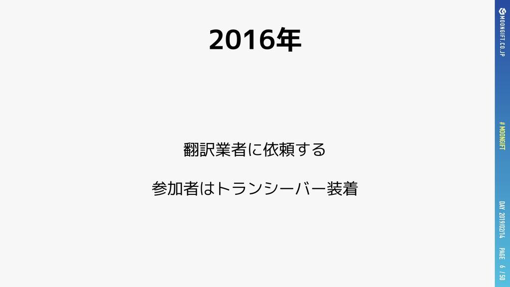 PAGE # MOONGIFT / 50 DAY 2019/02/14 2016年 翻訳業者に...