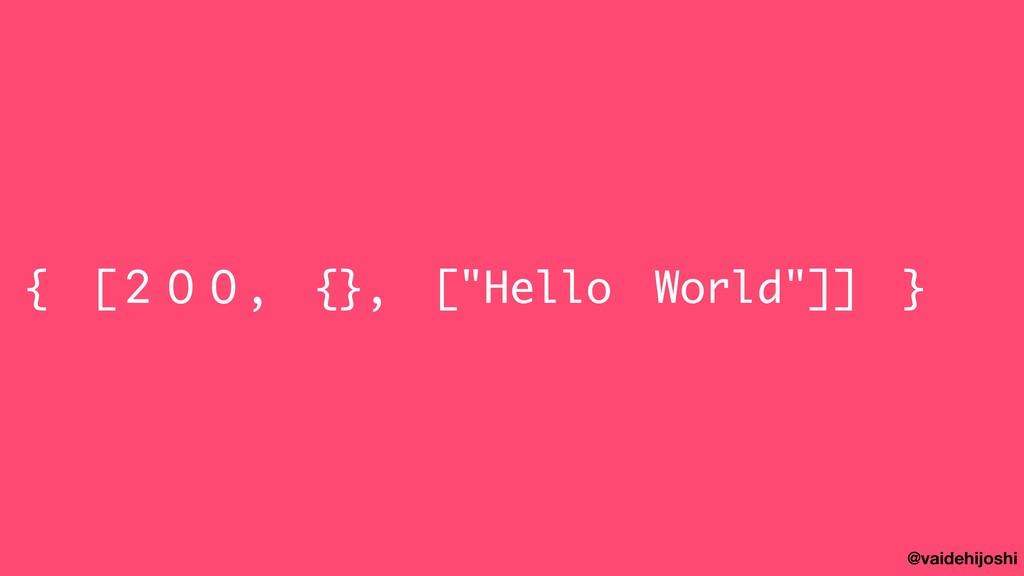 """@vaidehijoshi { [200, {}, [""""Hello World""""]] }"""