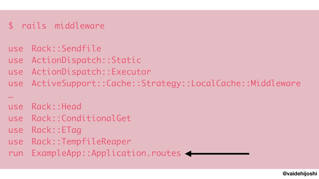 @vaidehijoshi $ rails middleware  use Rack::Se...