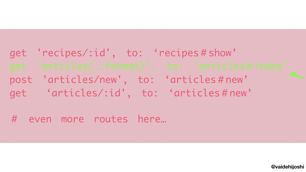 @vaidehijoshi get 'recipes/:id', to: 'recipes#s...