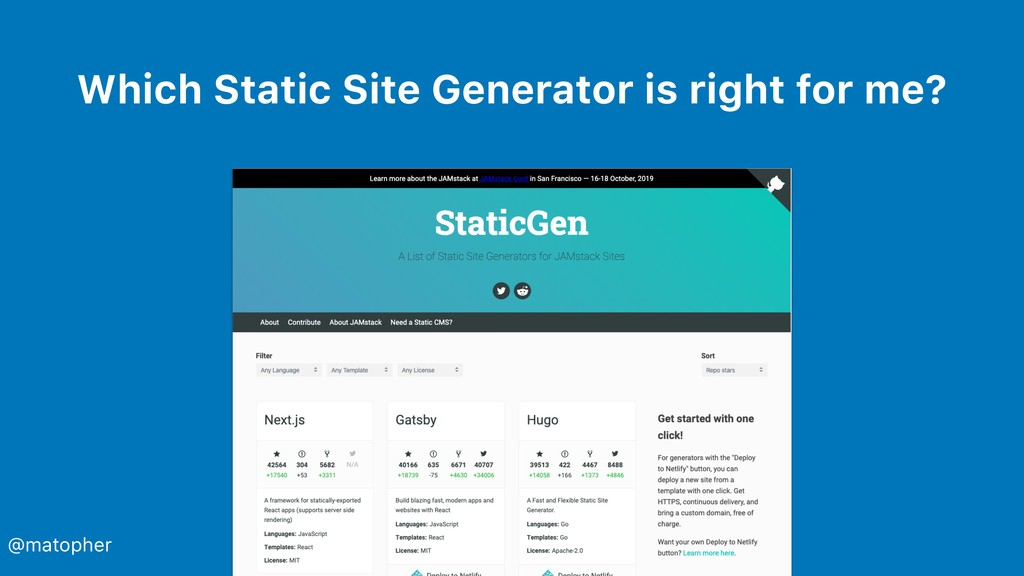 Which Static Site Generator is right for me? @m...