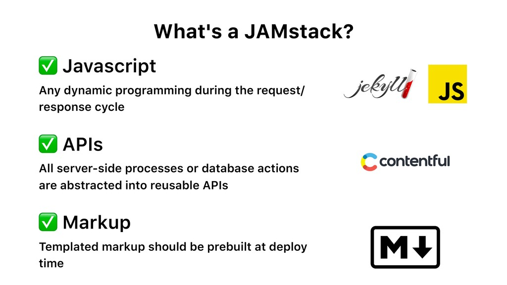 What's a JAMstack? ✅ Javascript Any dynamic pro...