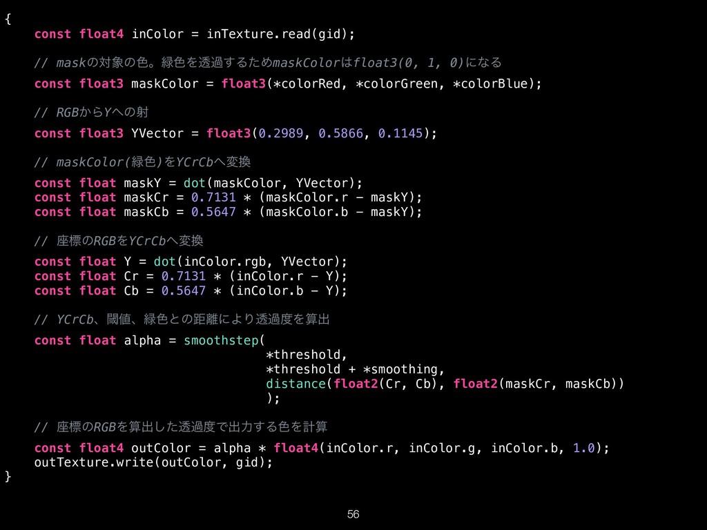 { const float4 inColor = inTexture.read(gid); /...
