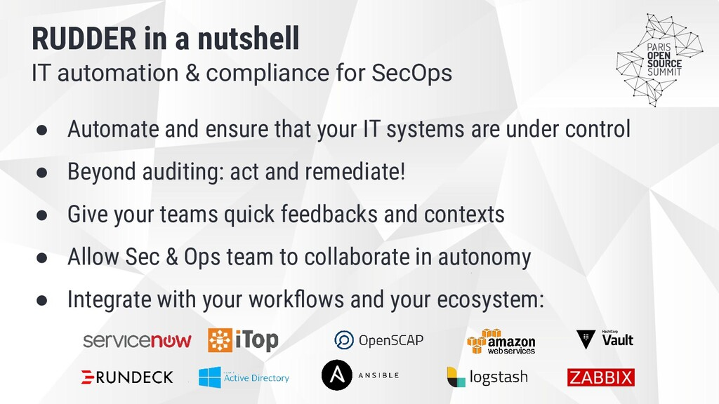 IT automation & compliance for SecOps RUDDER in...