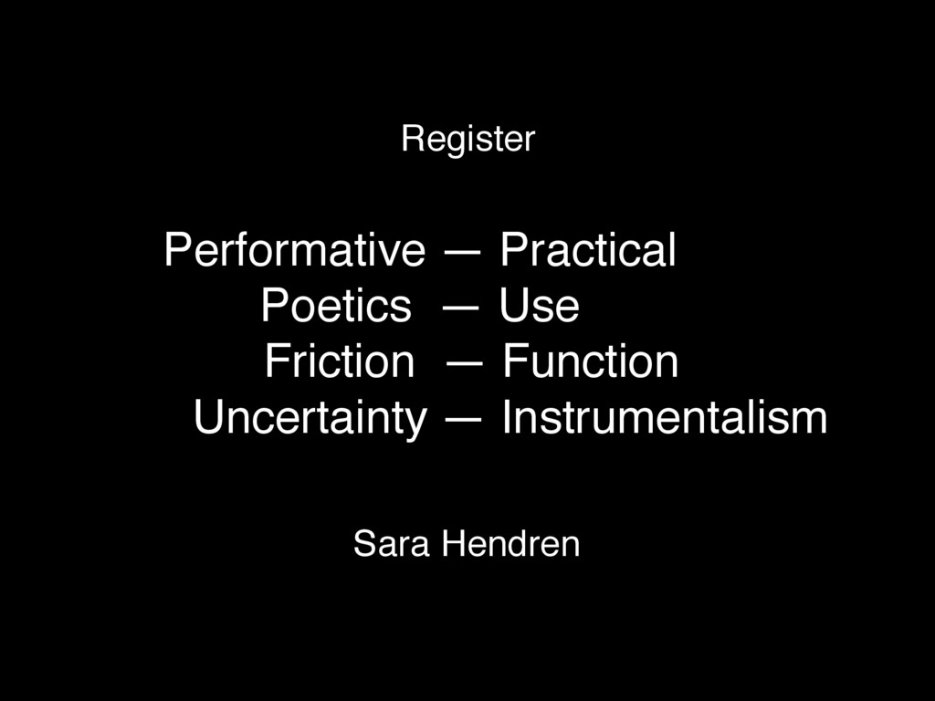 Performative — Practical Poetics — Use Friction...