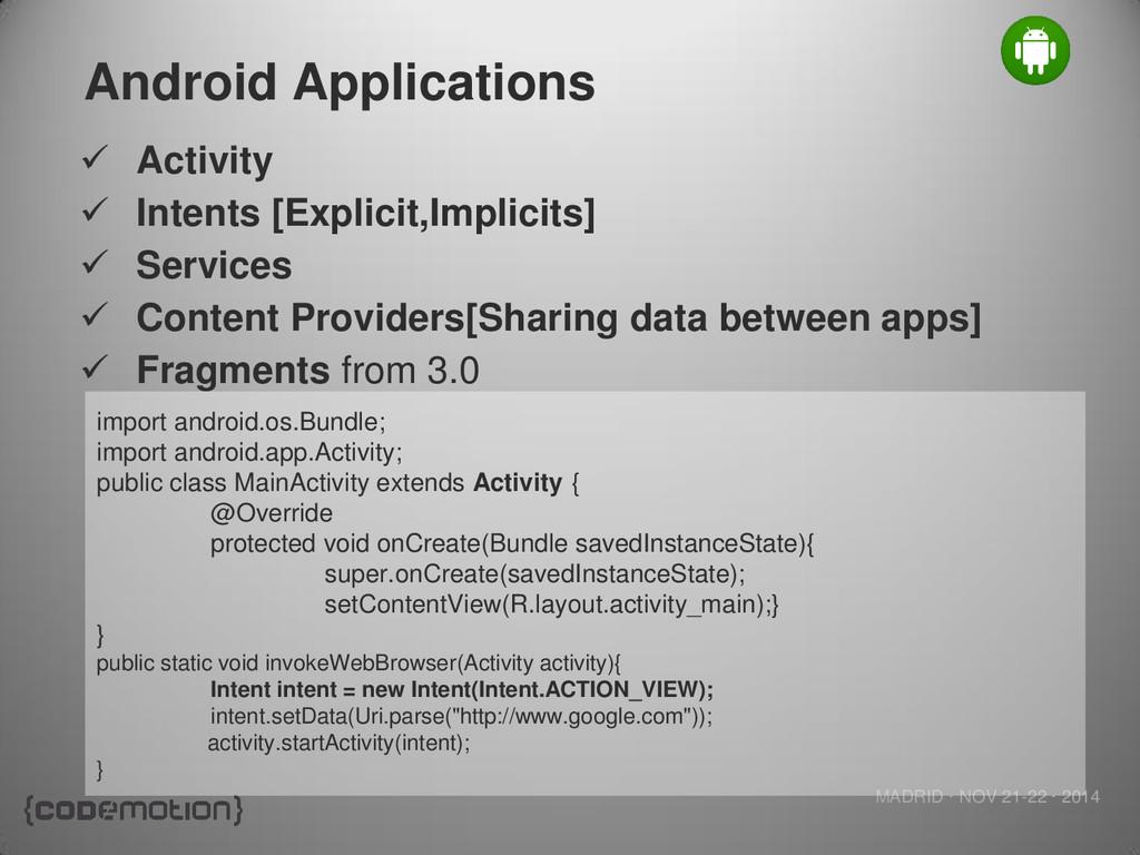MADRID · NOV 21-22 · 2014 Android Applications ...