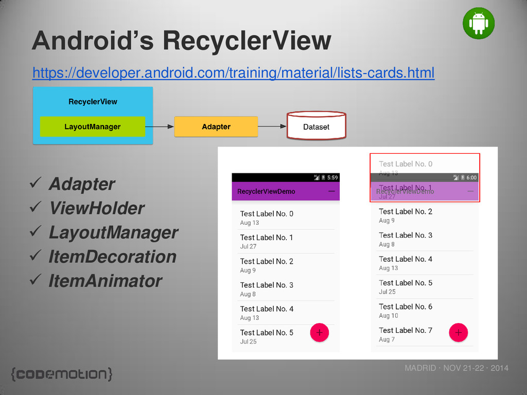 MADRID · NOV 21-22 · 2014 Android's RecyclerVie...