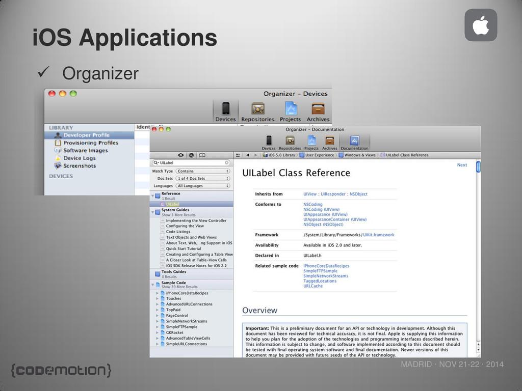 MADRID · NOV 21-22 · 2014 iOS Applications  Or...